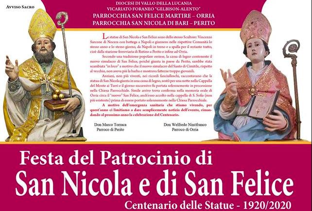 Perito e Orria, festa del Patrocinio di San Nicola e San Felice: Centenario delle Statue
