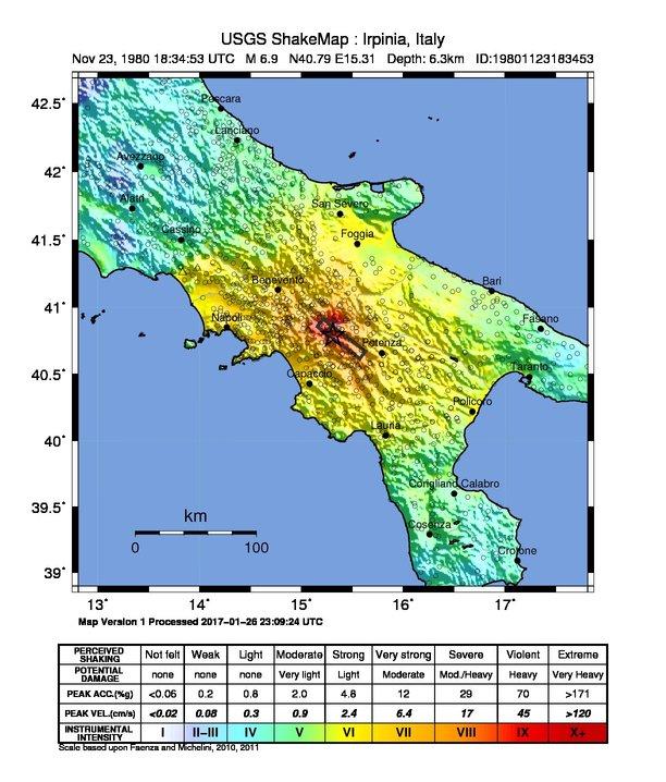 Intensità terremoto Irpinia