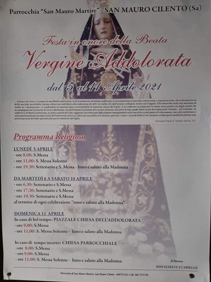 San Mauro Cilento - Programma Madonna dei 'Sette Dolori' 2021