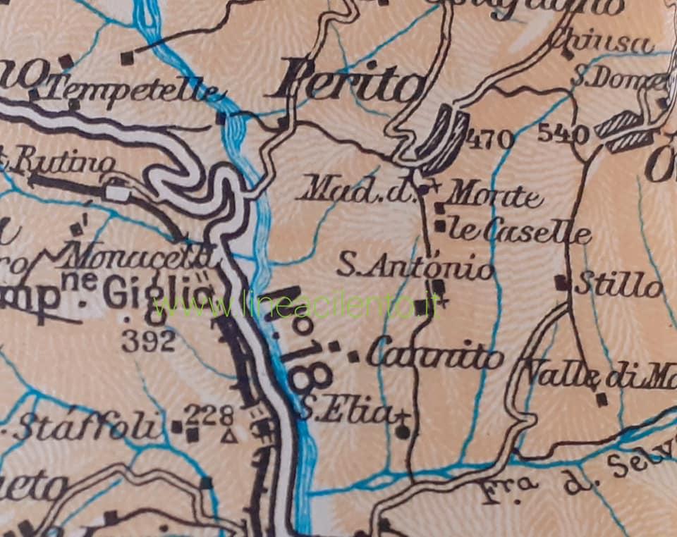 Perito, cartina degli anni '60 in cui si rileva la presenza della località Sant'Elia.
