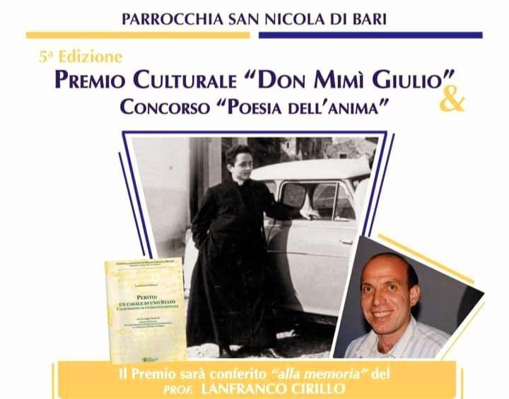 Perito: premio Culturale 'Don Mimì Giulio', concorso 'Poesia dell'Anima'